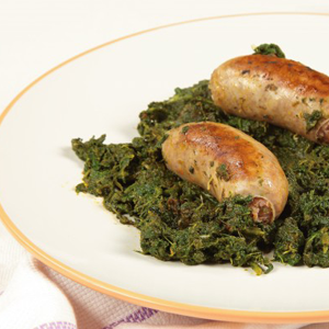 Tuscan sausages with turnip greens